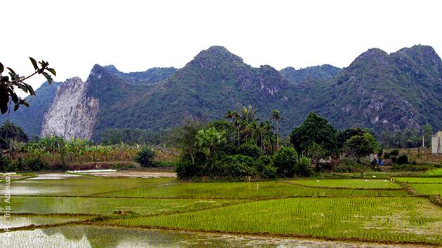 Itinéraire trek au coeur des rizières dans la vallées du Suoi Nam au Vietnam